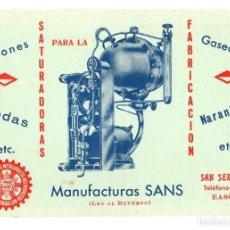 Postales: TARJETA POSTAL PUBLICITARIA MANUFACTURAS SANS. SAN SEBASTIAN. SIFONES, SODAS, GASEOSAS, NARANJINAS. Lote 293773453