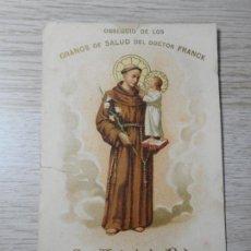Postales: ANTIGUA TARJETA.GRANOS SALUD.DOCTOR FRANCK.GRAINS SANTE.FARMACIA LEROY.PARIS.SAN ANTONIO PADUA. Lote 295538163