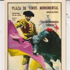 Postales: POSTAL DE CARTELES CORRIDAS PLAZA DE TOROS DE MONUMENTAL BARCELONA ANTONIO BIENVENIDA DIEGO PUERTA. Lote 295615823
