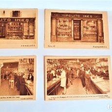 Postales: 4 POSTALES PUBLICITARIAS DIFERENTES DE LOS COMERCIOS DE HIPÓLITO INES EN ZARAGOZA. Lote 295709953
