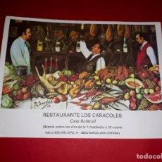 Postales: ANTIGUA PUBLICIDAD RESTAURANTE LOS CARACOLES CASA BOFARULL BARCELONA. Lote 295710818