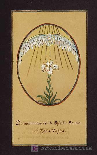 ESTAMPA RELIGIOSA: ESPIRITU SANTO (PINTADA A MANO) (Postales - Postales Temáticas - Religiosas y Recordatorios)