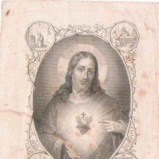 Postales: ANTIGUA ESTAMPA SAGRADO CORAZÓN DE JESÚS- PARÍS, ALCAN- 1845. Lote 25757269