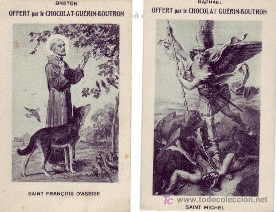 LOTE DE 7 RECORDATORIOS SERIE CHOCOLAT GUERIN-BOUTRON (Postales - Postales Temáticas - Religiosas y Recordatorios)