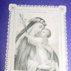 Postales: ESTAMPA BORDADA Y CALADA RELIGIOSA - HOLY CARD LACE - SIGLO XIX - CON GRABADO SOBRE PAPEL DE TELA VA. Lote 35143704