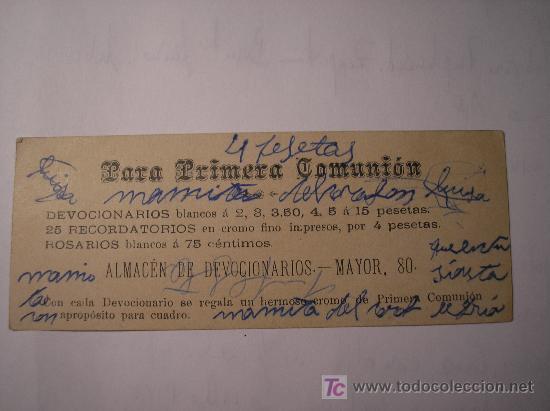 Postales: Estampa religiosa. Comunión. Publicidad de tienda religiosa - Foto 2 - 4301935