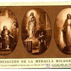 Postales: ASOCIACION DE LA MEDALLA MILAGROSA - INSTRUCIONES PARA PERTENECER A ELLA. Lote 8907394