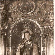 Postales: TARJETA POSTAL AVILA IGLESIA DE SANTA TERESA. IMAGEN DE LA SANTA CIRCULADA 1956. Lote 17445332