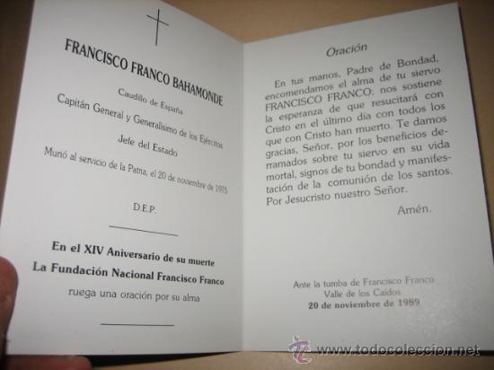 Postales: EN MEMORIA DE FRANCISCO FRANCO 20 DE NOV 1989 MENSAJES DEL CAUDILLO DESINTEGRACION NACIONAL - Foto 2 - 9999176