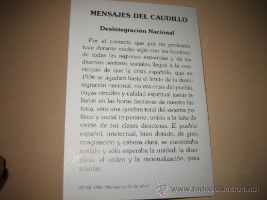 Postales: EN MEMORIA DE FRANCISCO FRANCO 20 DE NOV 1989 MENSAJES DEL CAUDILLO DESINTEGRACION NACIONAL - Foto 3 - 9999176