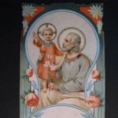 Postales: ESTAMPA RELIGIOSA ANTIGUA TROQUELADA Y DECORADA ID A JOSE. Lote 10294449