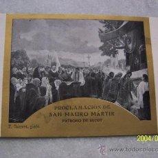 Postales: PROCLAMACIÓN DE SAN MAURO MÁRTIR, DE ALCOY-SOLEMNES CULTOS QUE EN HONOR DEL INVICTO PATRONO 1927. Lote 20050716