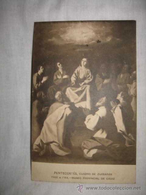 PENTECOSTES CUADRO DE ZURBARAN MUSEO DE CADIZ CIRCULADA GIJON-OVIEDO 1910 (Postales - Postales Temáticas - Religiosas y Recordatorios)