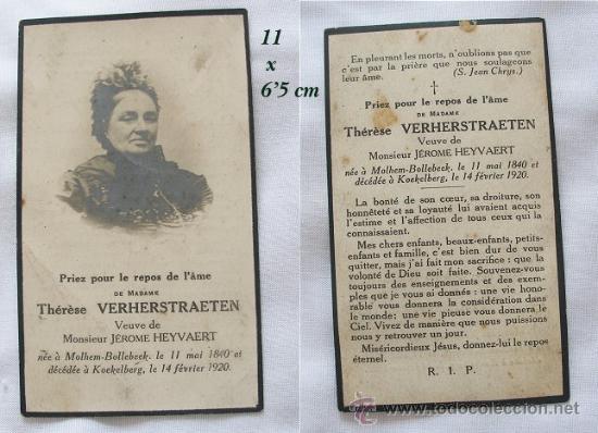 RECORDATORIO DE DIFUNTO 1920 (Postales - Religiosas y Recordatorios)