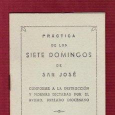 Postales: MAGNÍFICO LIBRILLO ORACIONES PRÁCTICA DE LOS SIETE DOMINGOS DE SAN JOSÉ - BADAJOZ 1947. Lote 12611316