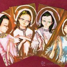 Postales: LOTE DE 4 MAGNÍCOS RECORDATORIOS PARA NIÑOS - NAVIDAD - ÁNGELES - ILUSTRADOS POR MATILDE Mª. Lote 12611540