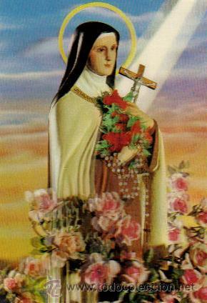 SANTA TERESITA DEL NIÑO JESÚS *** POSTAL HOLOGRÁFICA ESCUDO DE ORO (Postales - Postales Temáticas - Religiosas y Recordatorios)