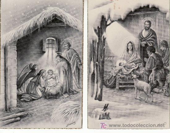 2 POSTALES ESCENAS NATIVIDAD DE CRISTO.RASTRILLOPORTOBELLO-ARTICULOS DE COLECCION EN GENERAL. (Postales - Postales Temáticas - Religiosas y Recordatorios)