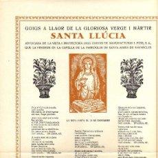 Postales: GOIGS A LLAOR DE LA GLORIOSA VERGE I MÀRTIR SANTA LLÚCIA - 1º EDICIÓ AÑO 1959 - MEDIDAS 25 X 35 CM.. Lote 17388412