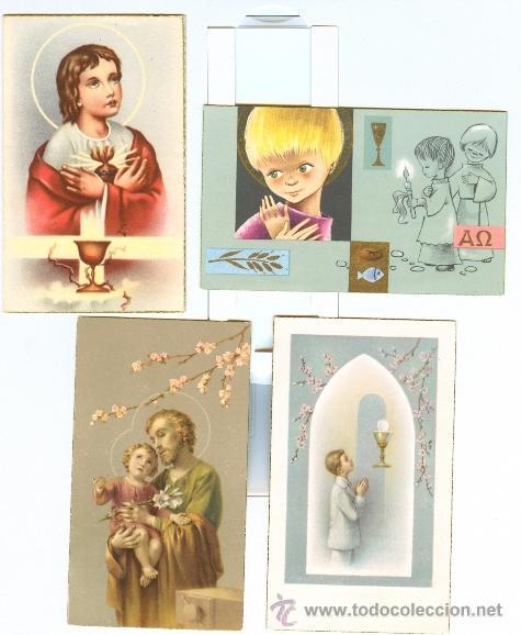4 RECORDATORIOS COMUNIÓN (AÑOS 50 Y 60) (Postales - Postales Temáticas - Religiosas y Recordatorios)