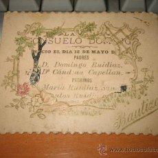 Postales: ANTIGUA TARJETA DE BAUTIZO 12 DE MAYO DE 1894 PARROQUIA DE GUADALUPE. Lote 15946388