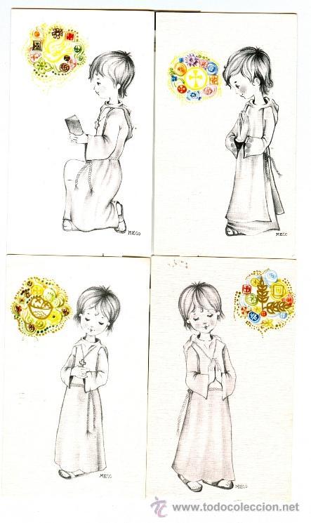 LOTE 4 RECORDATORIOS DE COMUNION (1970) (Postales - Postales Temáticas - Religiosas y Recordatorios)