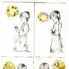 Postales: LOTE 4 RECORDATORIOS DE COMUNION (1970). Lote 15448702