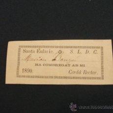 Postales: CERTIFICADO DEL AÑO 1890 IGLESIA DE SANTA EULARIE. Lote 22038404