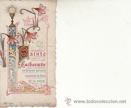 RECORDATORIO AÑO 1918 FRANCÉS.RECUERDO DE PRIMERA COMUNION. (Postales - Postales Temáticas - Religiosas y Recordatorios)