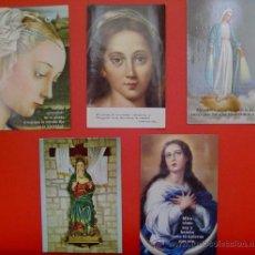 Postales: LOTE 5 ESTAMPAS RELIGIOSAS DE LA VÍRGEN.. Lote 18290799
