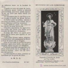 Postales: ESTAMPA RELIGIOSA - RECUERDO EJERCICIOS ESPIRITUALES (1905) - CORAZON DE JESUS . Lote 20012860