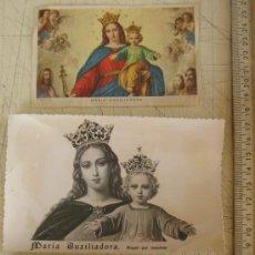 Postales: MARIA AUXILIADORA - DOS POSTALES Y UNA ESTAMPA ANTIGUAS. Lote 20105618