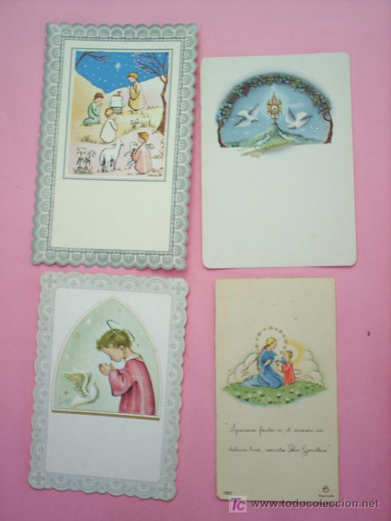 4 RECORDATORIOS AÑOS 50-60 DE COMUNION (Postales - Postales Temáticas - Religiosas y Recordatorios)