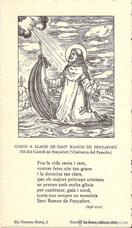 GOIGS A LLAOR DE SANT RAMON DE PENYAFORT . FILL DEL CASTELL DE PENYAFORT . VILAFRANCA DEL PENEDÈS (Postales - Postales Temáticas - Religiosas y Recordatorios)