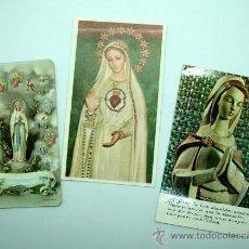 Postales: 3 ESTAMPAS RELIGIOSAS VIRGEN LOURDES, SAGRADO CORAZÓN Y OTRA. Lote 22281451