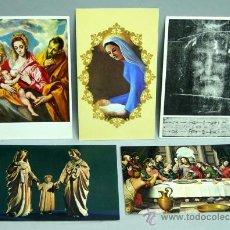 Postais: 5 POSTALES RELIGIOSAS SAGRADA FAMILIA SÁBANA SANTA ULTIMA CENA VIRGEN GRECO VIRGEN NIÑO. Lote 22509595