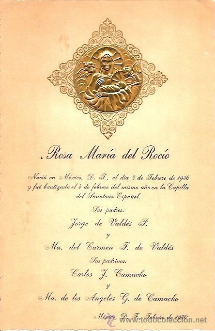 RECORDATORIO NACIMIENTO MEXICANO - AÑO 1956 - BAUTIZO EN LA CAPILLA DEL SANATORIO ESPAÑOL (Postales - Postales Temáticas - Religiosas y Recordatorios)