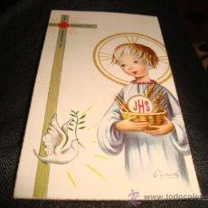 Postales: ESTAMPA RELIGIOSA RECUERDO PRIMERA COMUNION 1963. Lote 24769992