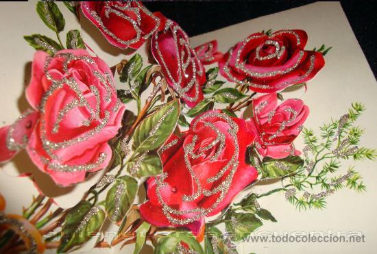 Postales: Postal de 1963 Cedag, troquelada y desplegable en relieve con bouquet de rosas-La Virgen Inmaculada - Foto 2 - 224424015