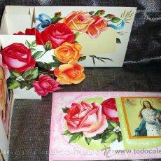 Postales: POSTAL SUPERDESPLEGABLE TROQUELADA DE LA VIRGEN Y EL NIÑO JESÚS AÑOS 60 VARIOS COLORES Y MOTIVOS . Lote 26579319