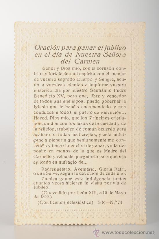 Postales: Estampa religiosa troquelada Nuestra Señora del Carmen - Foto 3 - 26388718