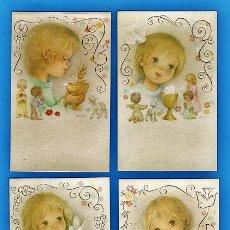 Cartes Postales: ESTAMPA PRIMERA COMUNION / RECORDATORIO - DIB. BELLINI - ED. CYZ - COL. DE 4 - R-5369 - AÑOS 70. Lote 26576587