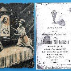 Postales: ESTAMPA COMUNION / RECORDATORIO - GUILLERMO MIR CARRASCO - VENDRELL - AÑO 1942. Lote 27081675