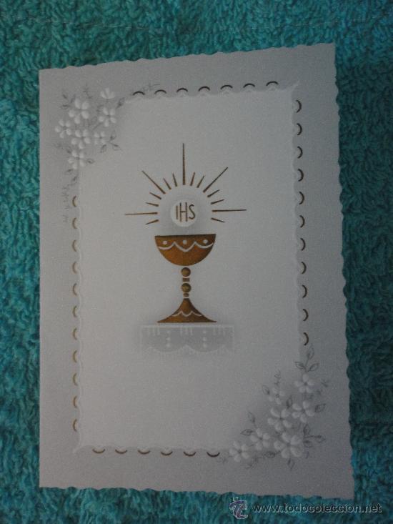 Tarjeta Invitacion Primera Comunion Santo Caliz 1971 Kruger Alemania 10 5 X 7 5 Cm Cerrado