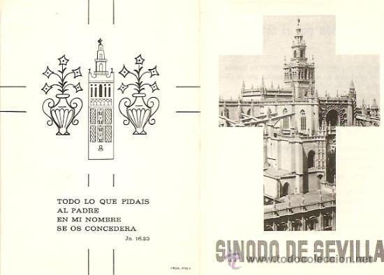 SINODO DE SEVILLA SIN FECHA (AÑOS 50-60) - TAMAÑO PLEGADO 8 X 11 CM. (Postales - Postales Temáticas - Religiosas y Recordatorios)