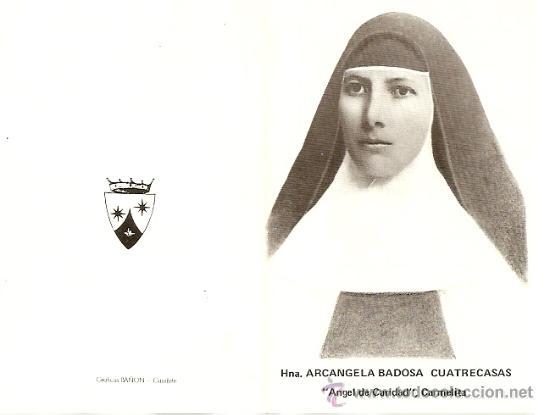 HNA. ARCANGELA BADOSA CUATRECASAS CARMELITA - RECUERDO ELDA - AÑOS 60-70 (Postales - Postales Temáticas - Religiosas y Recordatorios)