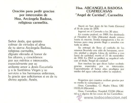 Postales: HNA. ARCANGELA BADOSA CUATRECASAS CARMELITA - RECUERDO ELDA - AÑOS 60-70 - Foto 2 - 27634198