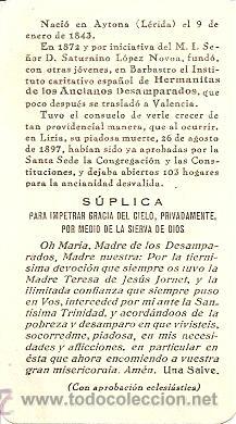 Postales: MADRE TERESA DE JESÚS FORNET, FUNDADORA DE LAS HERMANITAS DE ANCIANOS DESAMPARADOS - SIN FECHA - Foto 2 - 27634259