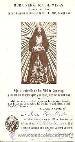 OBRA SERAFICA DE MISAS - FECHADA MANUSCRITA 12 ABRIL DE 1932 (Postales - Postales Temáticas - Religiosas y Recordatorios)