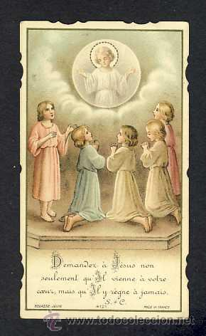 ESTAMPA RELIGIOSA: NIÑOS REZANDO (BOUASSE JEUNE NUM.4121) (Postales - Religiosas y Recordatorios)